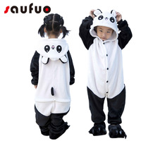 Kigurumi Winter Anime Panda Pajamas For Kid Children Unisex Hoodie Cotton Anime Flannel Pijama Bear Cat