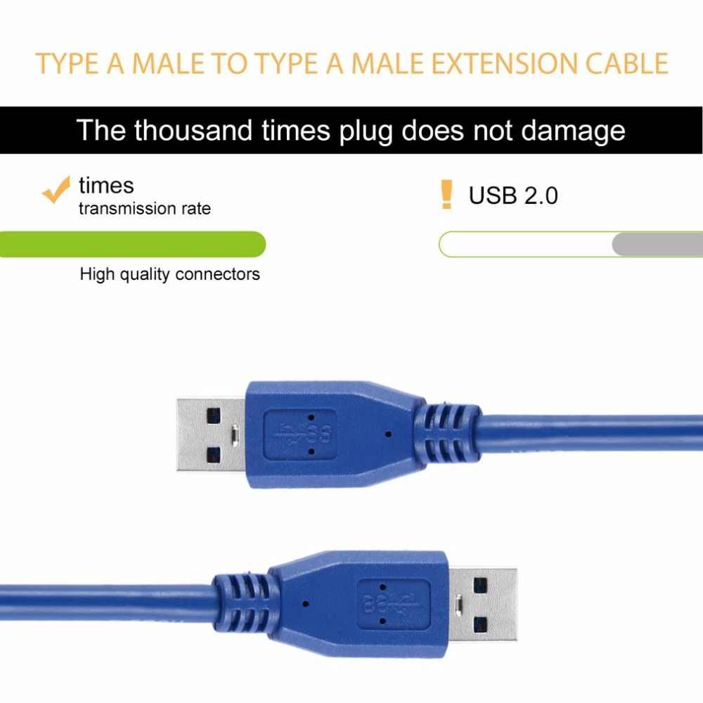 USB 3,0 Typ A Stecker auf Typ A Stecker M/M M2M Verlängerung Kabel Draht Tragbare Blau Solide 3FT/1M SuperSpeed Computer für drucker