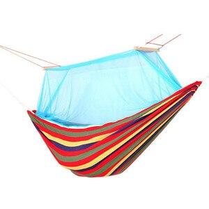 Гамак из хлопковой ткани на 1-2 человека, холщовая москитная сетка для сна, переносная садовая кровать с двойной рамой, качели, радужная полос...