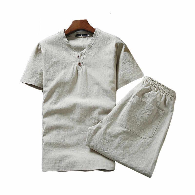 ซ้าย ROM 2019 ฤดูร้อนผู้ชาย tshirt ชุดผ้าลินินแขนสั้น big เสื้อยืดลำลอง v คอหลวมสองชุดชิ้นเสื้อยืด S-5XL
