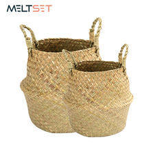 Handmade Rattan Storage Basket Seagrass Laundry Basket Wicker Picnic Basket for Plant Flower Fruit Storage Box Dirty Clothes Bag