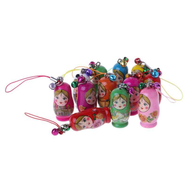 新しいかわいいロシアネスティング人形マトリョーシカ人形キーホルダー電話ハンガーバッグギフト