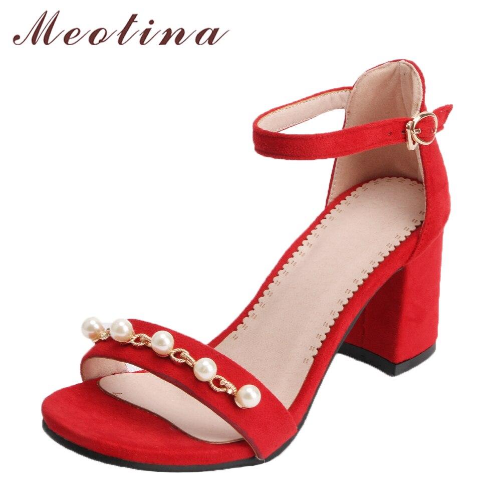 Tamaño Tacón Verano rojo 2018 Del Zapatos 33 Negro Tobillo 43 Rojo Talones  Perla Partido Peep De Grande Toe Negro Bloque Sandalias Meotina Mujer Alto  ... c0974de54e9f