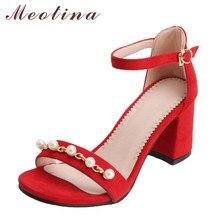 336d7d7b704a4 Meotina Mulheres Sandálias Peep Toe Vermelho sapatos de Salto Alto Sapatos  de Festa Pérola 2018 Verão
