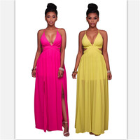 2019 Women dress sweet sexy sea beach holiday pink yellow color slit cross back fashion deep V neck cross back dress for girls