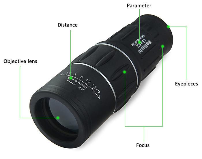 Dual focus monocular telescope zoom optic lens binoculars