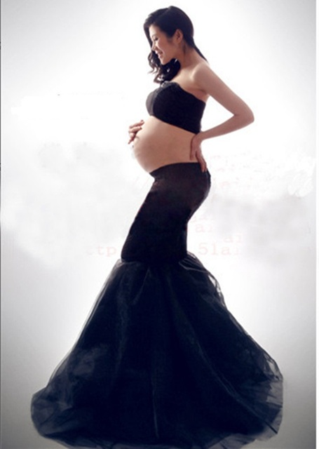 0a30dbf2fe7a9 Maternity Dress Long Shooting Black Ball Gown Pregnancy Dresses For Photo  Ankle-Length Dresses For Pregnant Women BB87