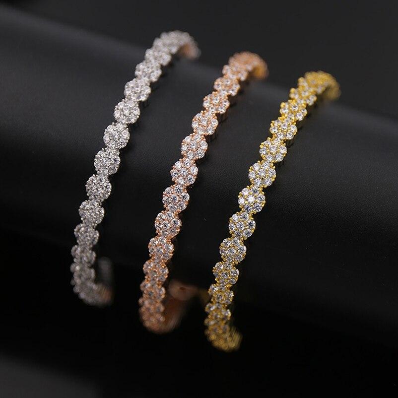 Gorgeous Six CZ Diamonds Little Flower Bracelet Brand Quality Gold Silver Rose gold Color Adjustable Size