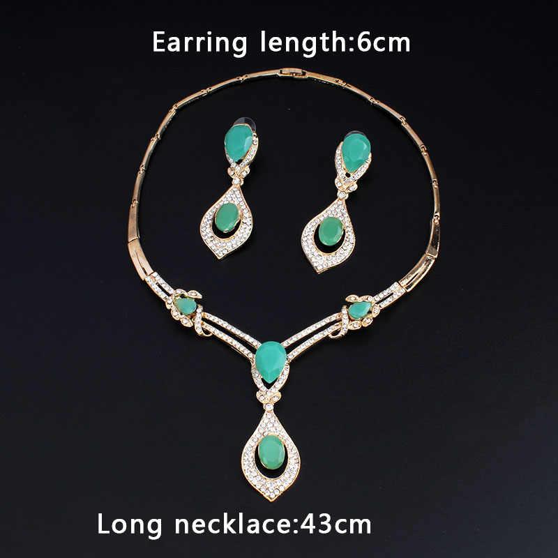 Jiayijiaduo Amerikanische mode hochzeit schmuck sets Gold-farbe Charme frauen sommer kleidung zubehör tage blau kristall großhandel