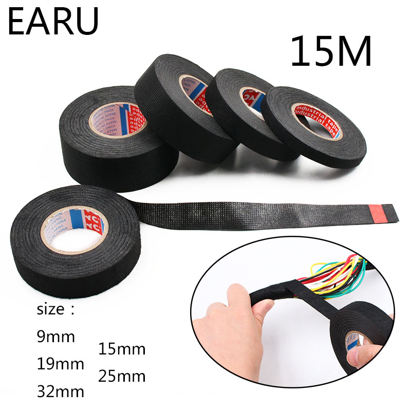 1pc Heat-resistant Adhesive Cloth Fabric Tape For Car Auto Cable Harness Wiring Loom Protection Width 9/15/19/25/32MM Length 15M