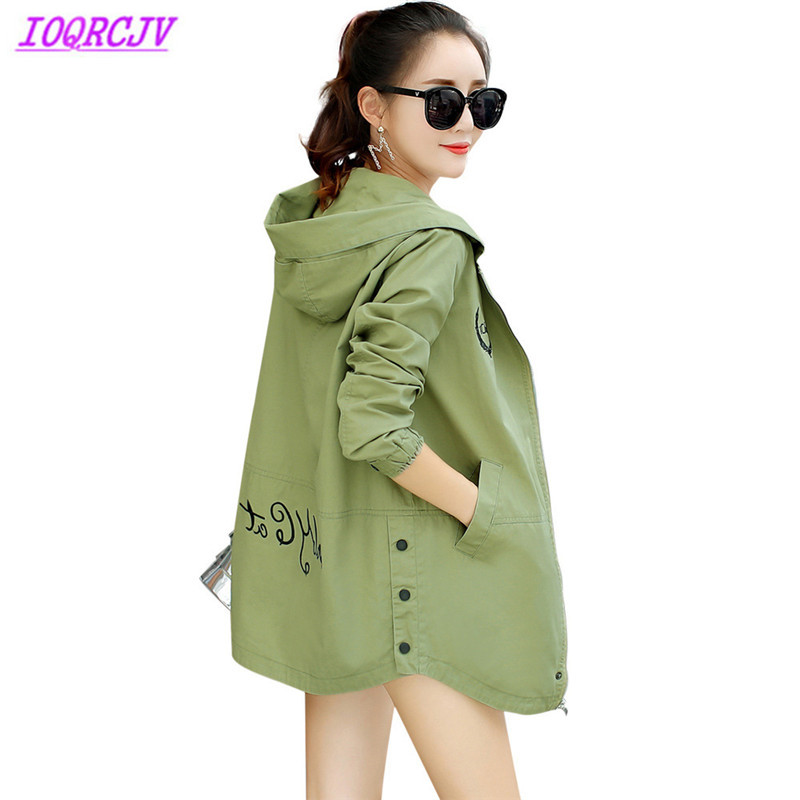Hooded trench coat women 2018 spring crop cotton Casual tops Plus size coat Letter print autumn Windbreaker female IOQRCJV H451