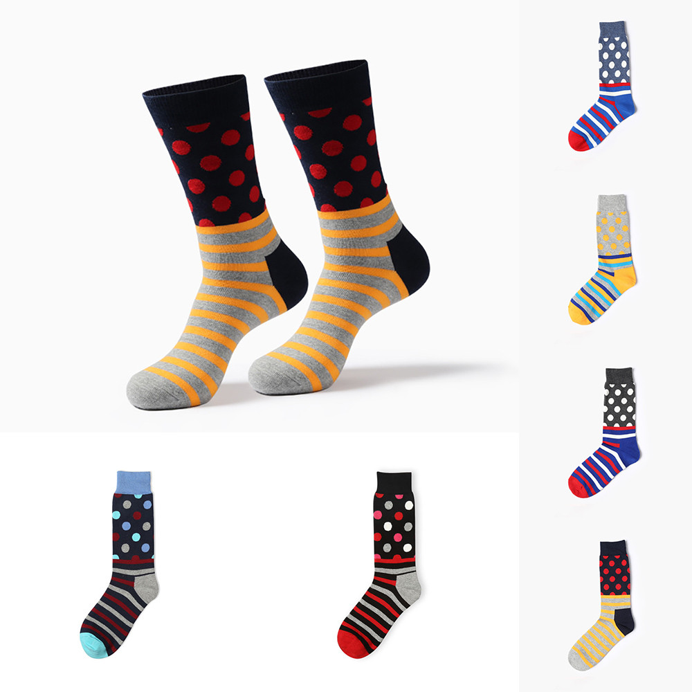 Лидер продаж, Новое поступление человек точка полоса Цвет блок хлопковые носки Цвет ful  ...