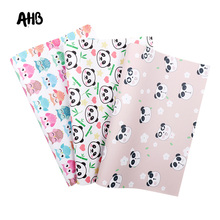 AHB Faux Leather Sheets Chinese Panda Synthetic Leather Fabric For DIY Kids Hair Accessories Natural Theme Party Decor Materials цена и фото