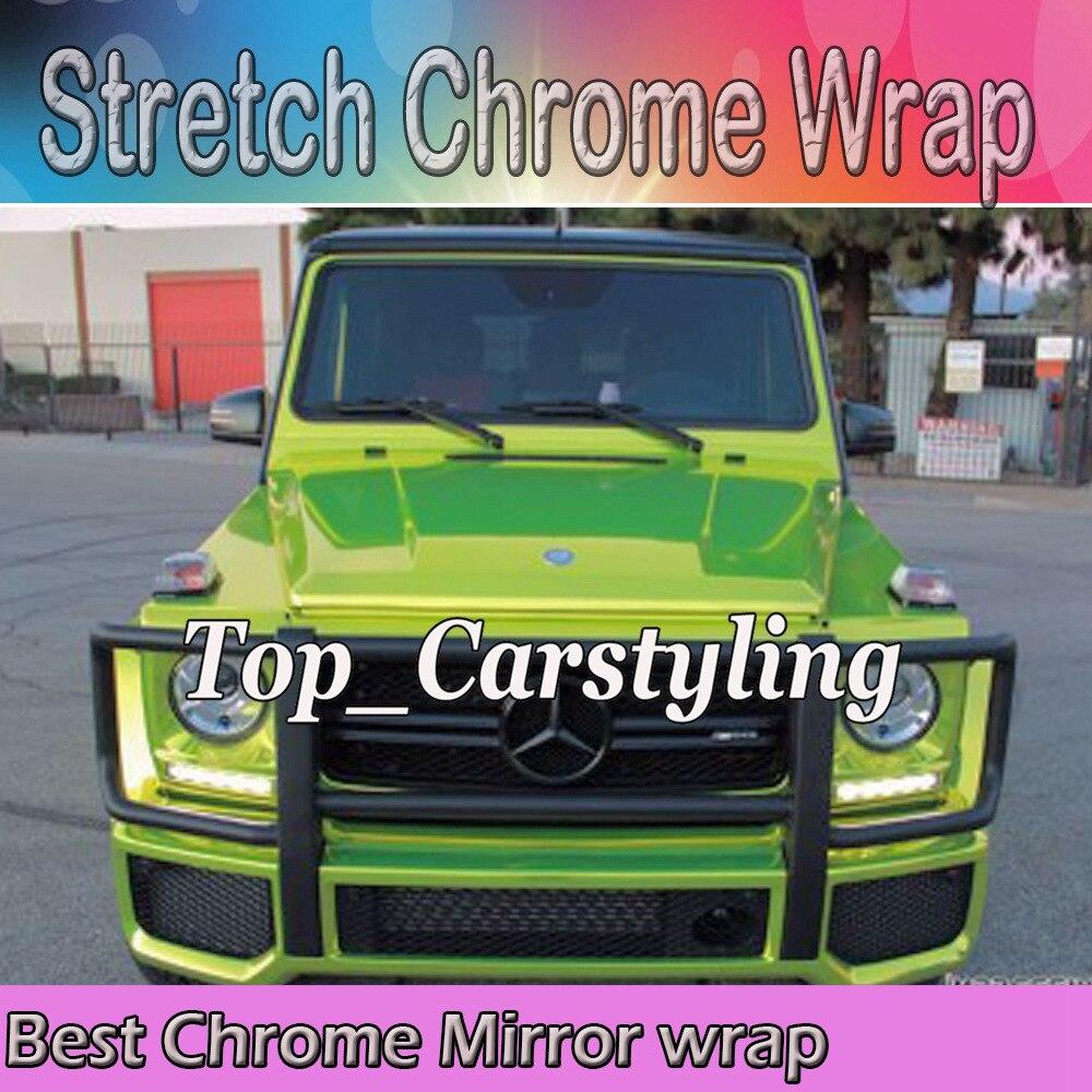 Feuille de style pleine de voiture de Film d'enveloppe de voiture de miroir de Chrome extensible de chaux avec la bulle d'air taille libre: 1.52*20 M/Roll