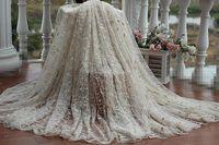 O envio gratuito de ouro Do Vintage do Laço de Tecido Bordado com floral, Tela Do Laço do Vestido de casamento