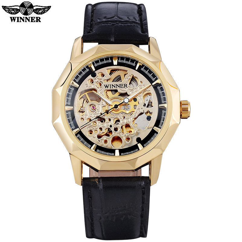 WINNER fashion casual brand men mechanical watches leather strap men s automatic skeleton watches male clock