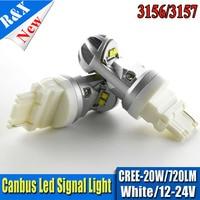 3157 3156 Canbus Автомобильный источник света 4smd 20 Вт CRE xp-e чипов P27/7 Вт светодиод высокой мощность P27W светодиодных ламп автомобиля Тормозные огни д...