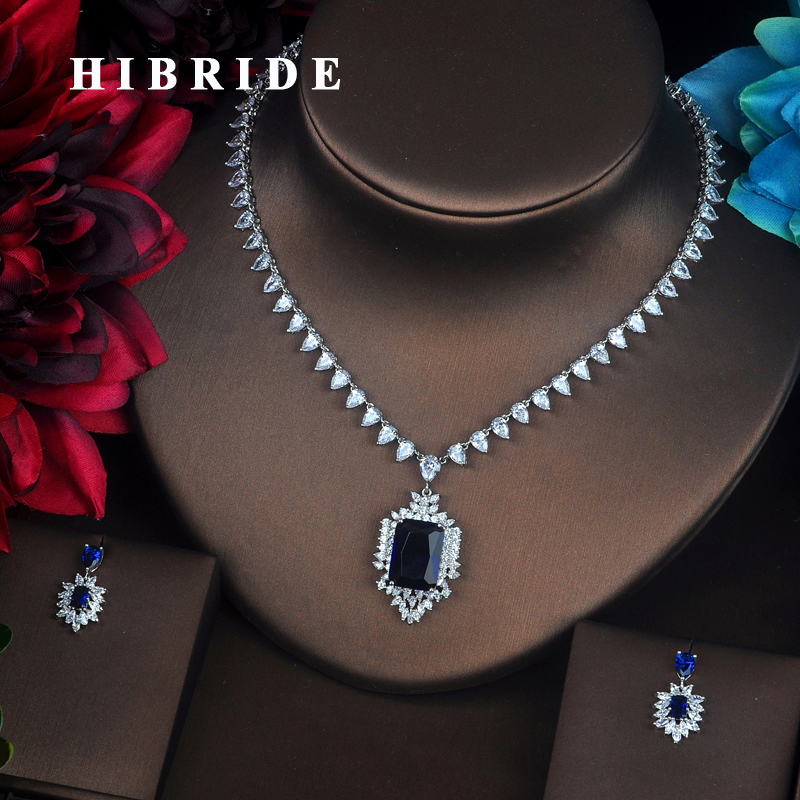 HIBRIDE Clear Sparkly Blue Cubic Zirconia Small Jewelry Sets For Women Bride Necklace Set Wedding Bride Dress Accessories N-376HIBRIDE Clear Sparkly Blue Cubic Zirconia Small Jewelry Sets For Women Bride Necklace Set Wedding Bride Dress Accessories N-376