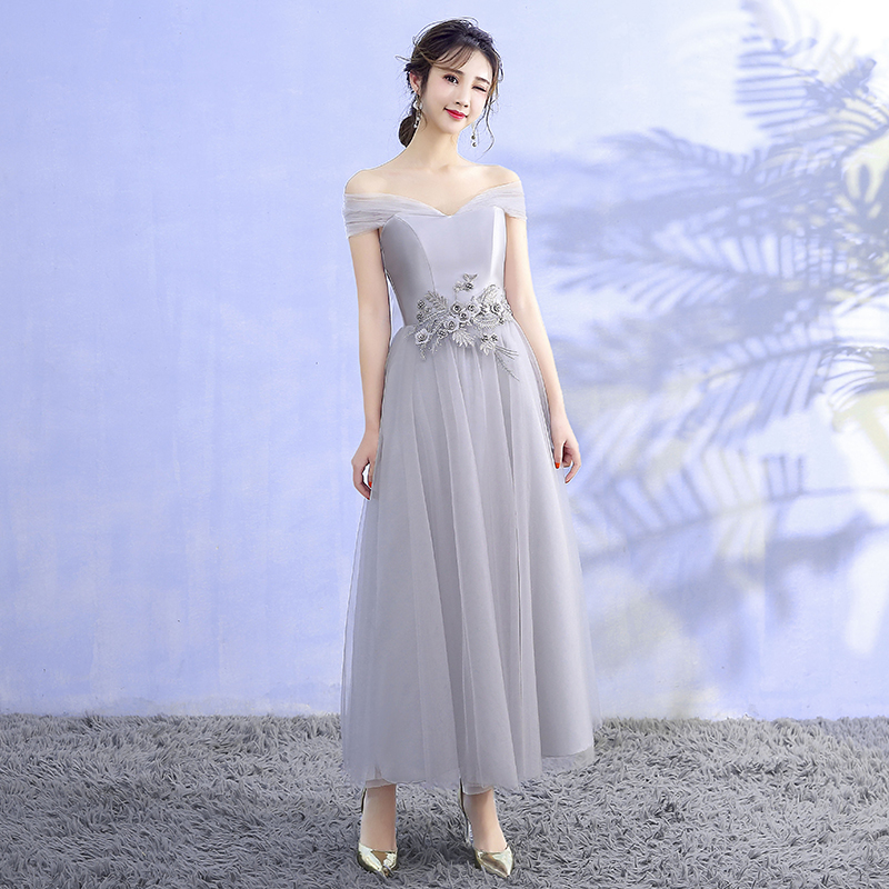 Grey Color  Dress  Sleeveless Midi Dress Bridesmaids Dresses Elegant  Woman Dresses For Party And Wedding