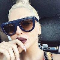 RFOLVE Latest Fashion Sunglasses Women Flat Top Style Brand Design Vintage Sun Glasses Female Rivet Shades