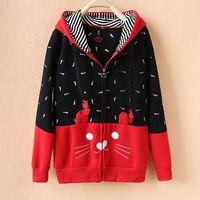 Nhật bản mori kawaii cô gái hoodie cat mặt với dễ thương ear áo sweatshirt phim hoạt hình neko cosplay quần áo chaqueta mujer 2501