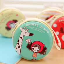 Factory Wholesale Funny Cute Girl Pula Round Tin Box Coin Bag Tinplate Zipper Bag Women Purse Headset Creative Coin Bag