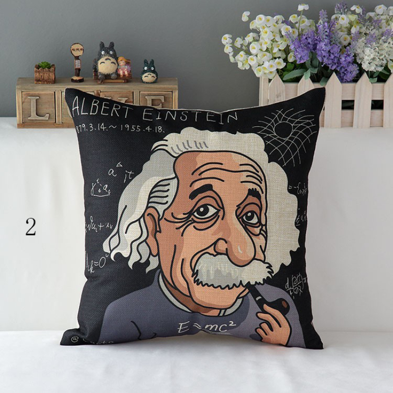 Cushion Cover Case World Famous People Einstein Van Gogh Andersen Bach Creative Art Decorative Home Throw Pillow Case Pillowcase