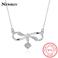 NEWBUY Luxury 925 Sterling Silver Choker Necklace For Women Fashion Infinity Simple Necklace With Cubic Zirconia
