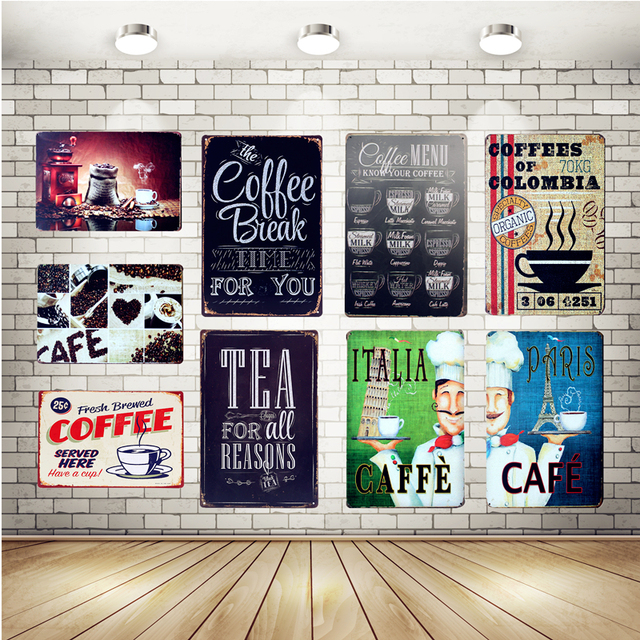 Retro Hot Coffee Metal Tin Sign Caffe Open Signage Home Decor Wall Art  Painting Plaque Vintage