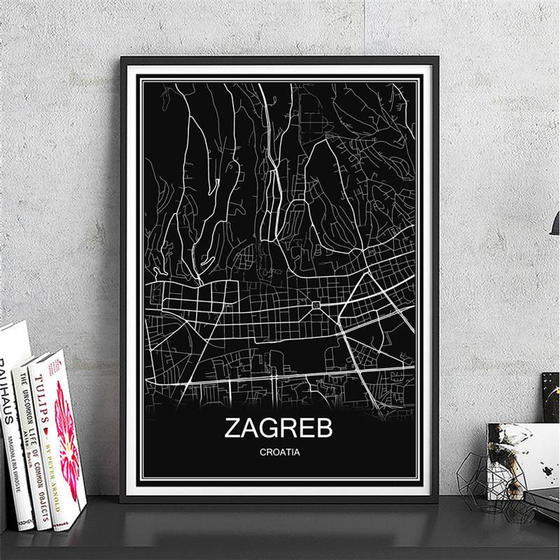 ZAGREB Leinwand Beschichtetes Papier Weltkarte Lgemlde Moderne Stadt Poster Abstrakt Druck Bild Cafe Bar Wohnzimmer Dekor