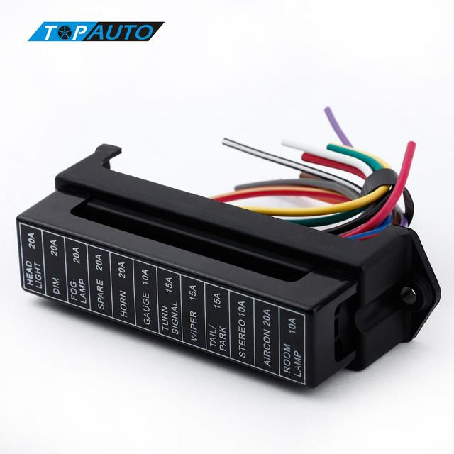 kkmoon 12 way dc 12v volt fuse box 24v 32v circuit car trailer auto blade fuse  box block holder atc ato 2-input 12-ouput wire