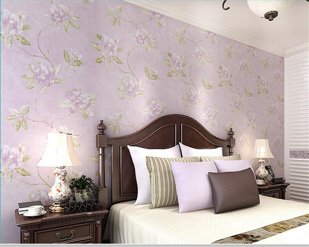 beibehang papel de parede Non woven Rural Rural big flower wallpaper warm bedroom living room study background shop 3d wallpaper beibehang warm pink girl room wallpaper children s room non woven three dimensional love childrens clothing shop wallpaper