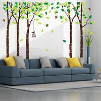 Large Background Wall Sticker 5 Trees Hanging Cage Flying Birds Tree Wall Stickers Baby Nursery Backdrop