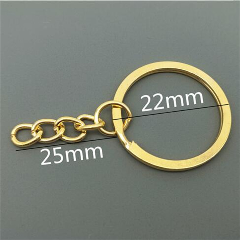 Keyrings High quality electroplating gold Metal Split Key Ring Keychain All Size