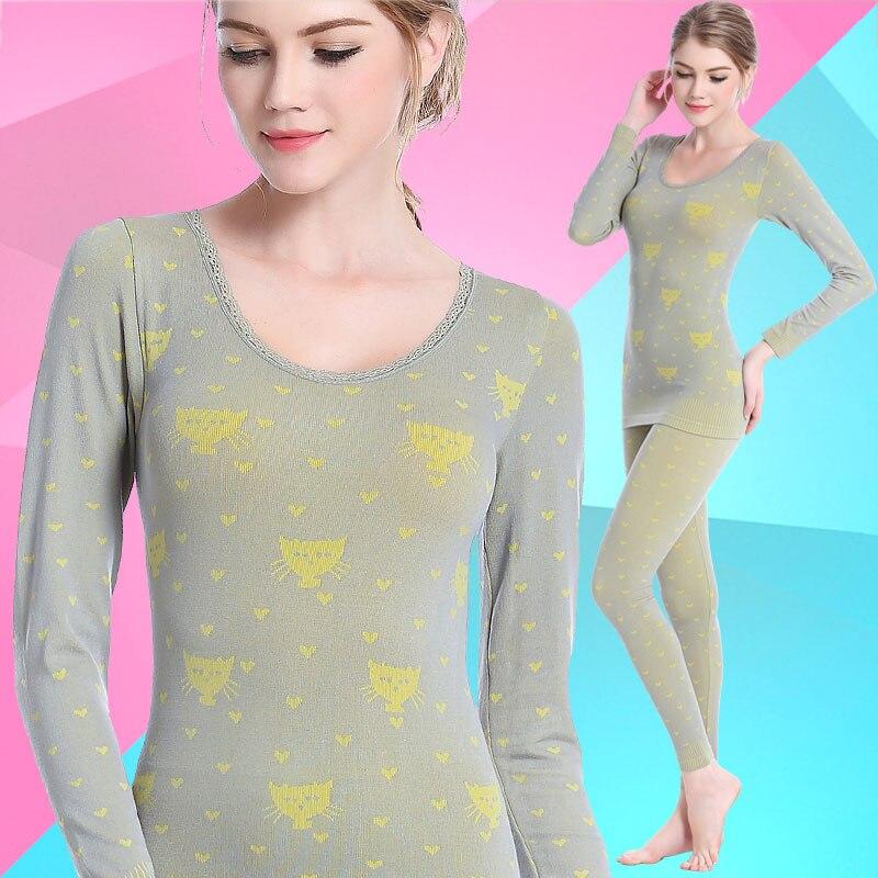 Cat Printed Long Johns Sets Lady Lovely Warm Underwear Female Cotton Sweater Suit Winter Thermal Inner Wear Wave Lace Lips Women