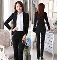 Plus Size 4XL Profissional Projeto Formal Uniforme Feminino Pantsuits Com Jaquetas E Calças Escritório Ladies Magro Moda Calças Definidos