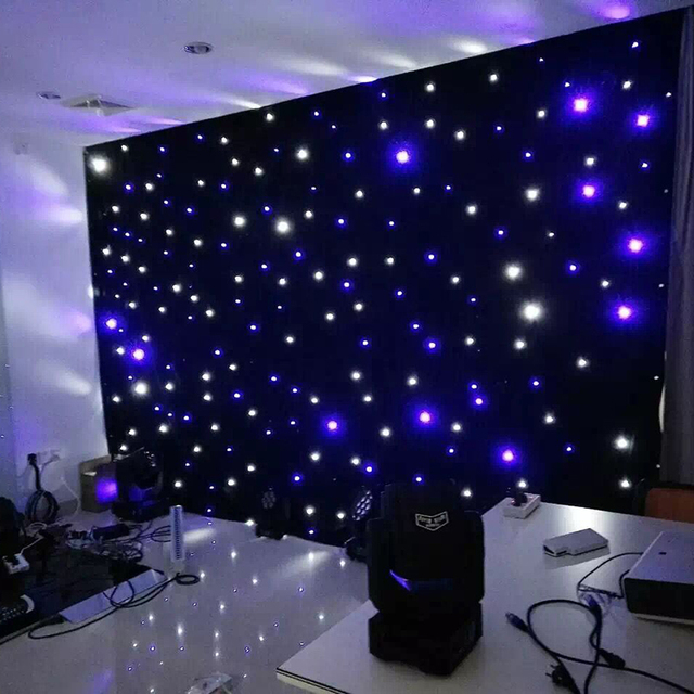 4 Meter X Led Starlight Backdrop Curtain Wedding Event Party Blue And White