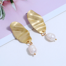 L&H High Quality Dangle Earrings For Women Stylish Geometric Shape Female Drop Earrings Classic Simple Party Pearl Earrings 2019 pair of stylish beads decorated cone shape earrings for women