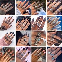 HuaTang Bohemian Antique srebrny pierścień geometryczne słoń kwiat zielony Rhinestone Knuckle pierścienie Midi palec Anel pierścienie Biżuteria tanie tanio Moda Rings 6734 Wedding Bands Crystal Brak Stop cynkowy Kobiet Strona Wszystkie kompatybilne