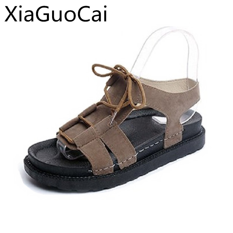 Lightweight Woman Sandals Summer Fisherman Style Lace-up Sandals for Ladies Female Flat Platform Antiskid Beach Shoes