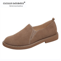Cuculus Slip Ons Shoes Women casual Leather Shoes Round Toe Spring Autumn Solid Flat Black Brown Khaki Moccasins 1887