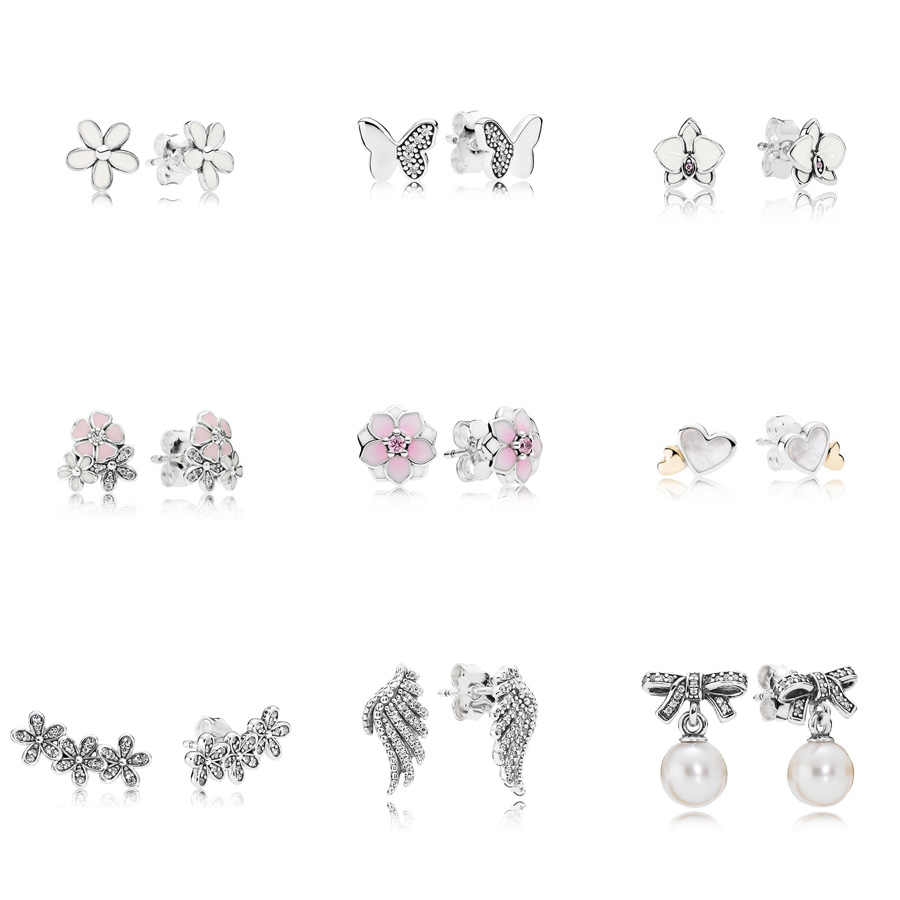 9 Style 925 Sterling Silver Earrings Flower Butterfly Heart Wings Pearl Earrings for Women Wedding Party Jewelry
