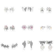9 Style 925 Sterling Silver Earrings Flower Butterfly Heart Wings Pearl Earrings for Women Wedding Party Jewelry(China)