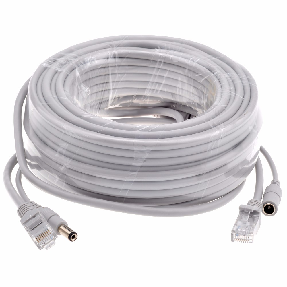 CCTV CAT5/CAT 5e 5M/10M/15M/20M/30M Ethernet Cable RJ45 + DC Power ...