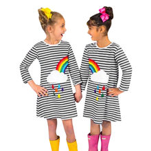 Fashion kids dresses for girls infant Toddler Baby Girl Clothes Striped Rainbow Print Party Dress Clothes Dresses dropshipping(China)