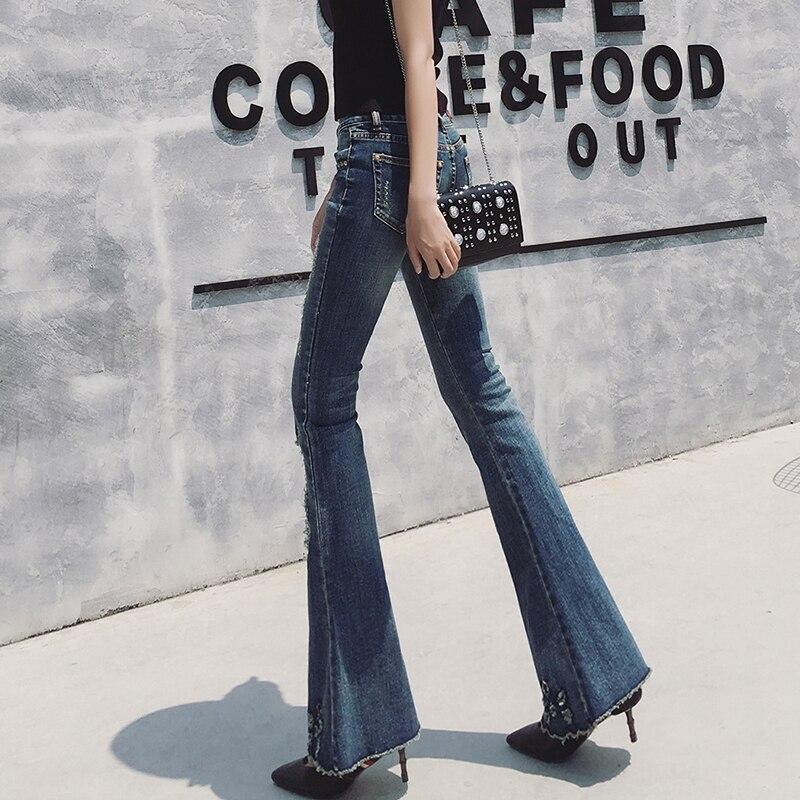 Flare Livraison Longue Stretch Pour 24 Bleu Gratuite Denim Mode Femmes 31 Plus La 2018 Taille Avec Pantalon Trous Jeans 8aB48tn