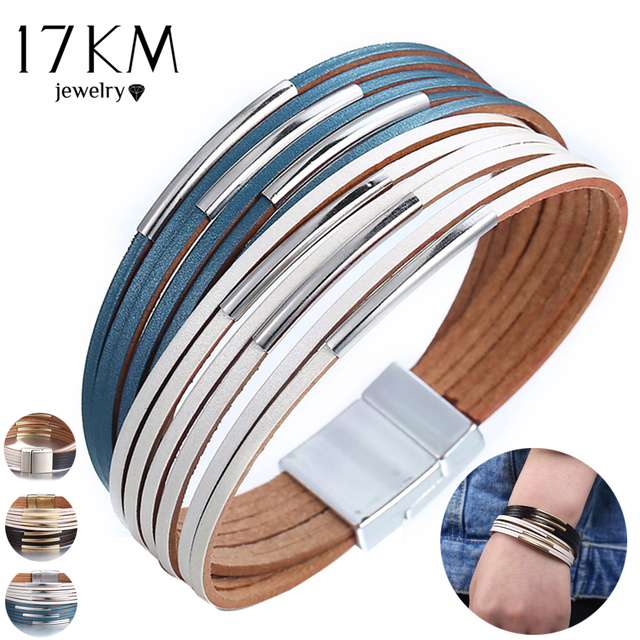 17KM New Fashion Wrap Couples Bracelet For Women Men Multiple Layers Leather Bracelets With Slide Simple Statement Jewelry 2019