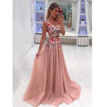 f73955ea0a Vestido largo elegante para mujer vestido de noche de verano para fiesta  Sexy cuello en V Floral Rosa Maxi vestido talla grande ropa de mujer S-4XL