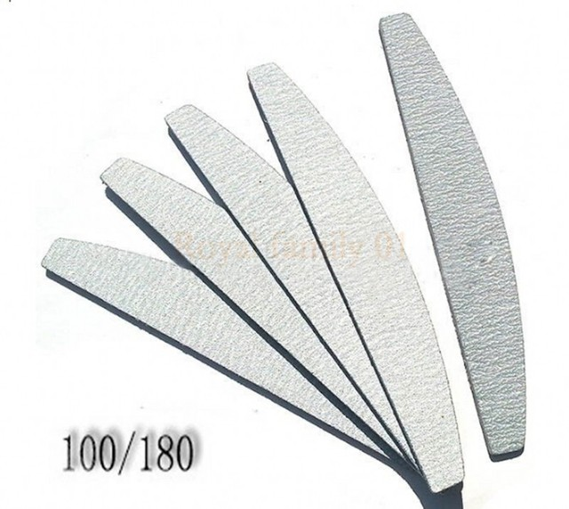 10pcs Professional Nail Files 100/180 Grit Double Side Curved Grey ...