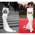 Rihanna Two Piece Long Evening Dresses 2016 vestido longo Long Sleeve White Mermaid Prom Gowns Sexy Party Dress Without Necklace